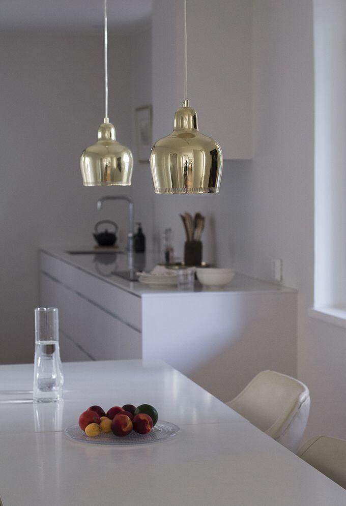 Kitchen, cabinets Kvik, lamps Golden Bell Artek, walls Strong White Farrow & Ball | Coffee Table Diary blog