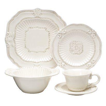 Baroque 20 Piece Dinnerware Set - Cream