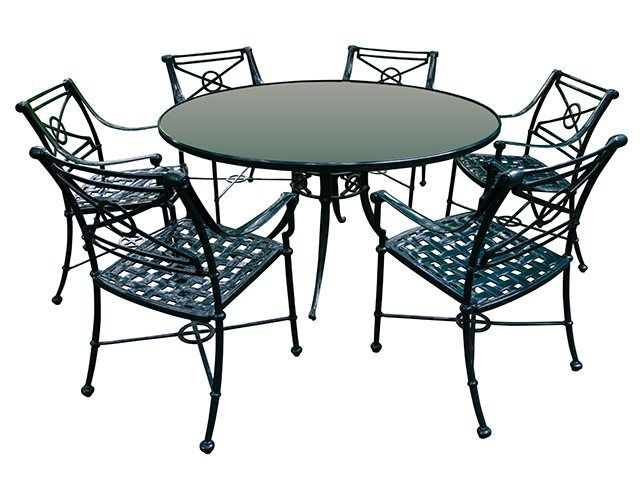 Woodard Hunter Green Cast Iron & Glass Round Outdoor Table & 6 Cast Iron Chairs | The  Local Vault