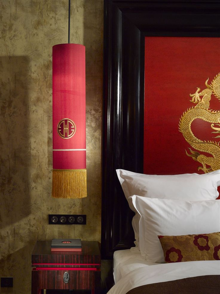 Buddha Bar Hotel Prague, Czech Republic. #oriental #lighting #dragon #detail #interior #design #red #lamp #hotel #bed #room