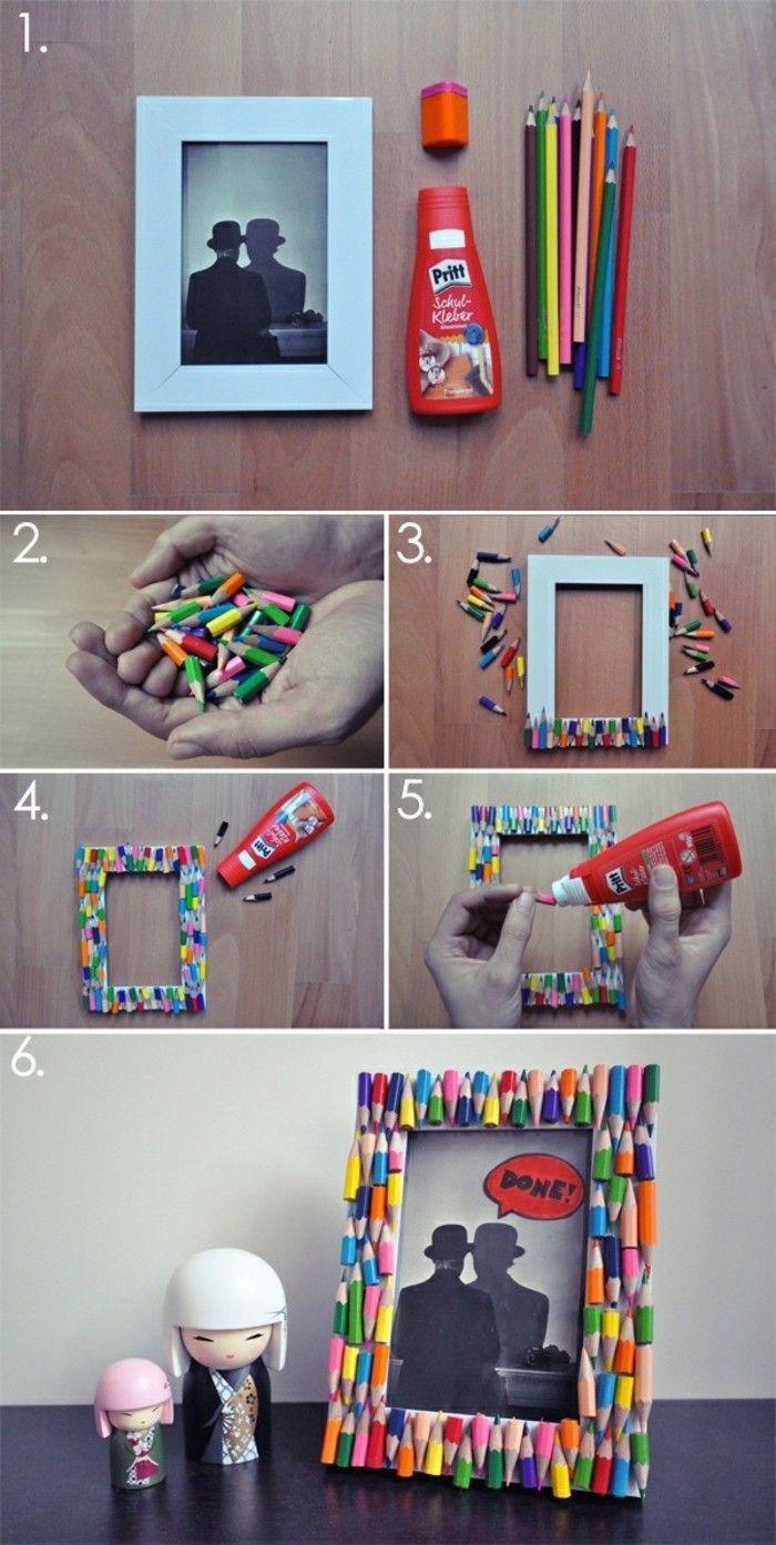 idée cadre photo originale, encadrement, décoré de pieces de crayons en couleur collées dessus