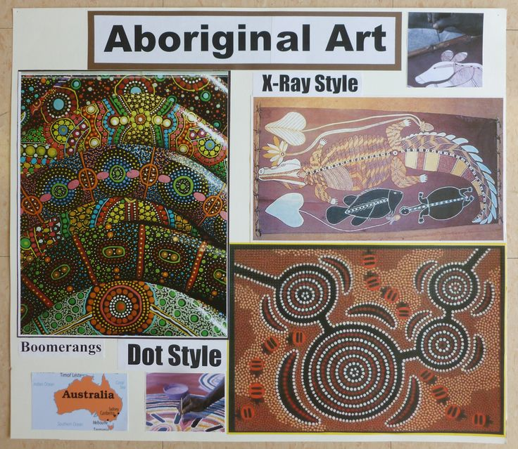 Australian aboriginal art styles: dot and x ray