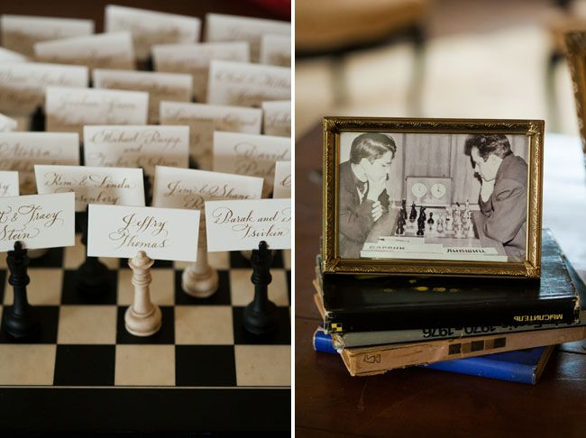 Chess pieces holding escort cards.: Wedding Themes, Names Tags, Wedding Favors, Chess Wedding, Chess Boards, Chess Anyone, Chess Themed Wedding, Chess Theme Decor, Chess Piece