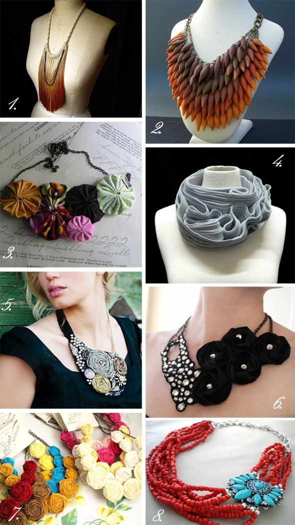 More statement necklace DIY ideas. #statement necklace #DIY #jewelry