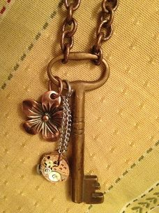 Made with Vintage Skeleton Key. Embellished key to make an unusual necklace