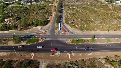 highway t intersection aerial