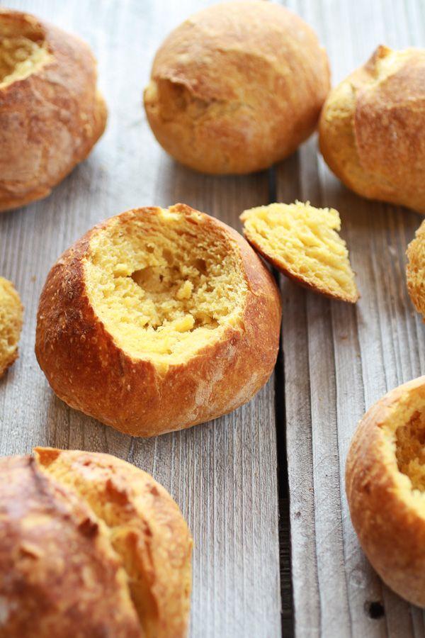 Super Easy Crusty No-Knead Pumpkin Bread Bowls