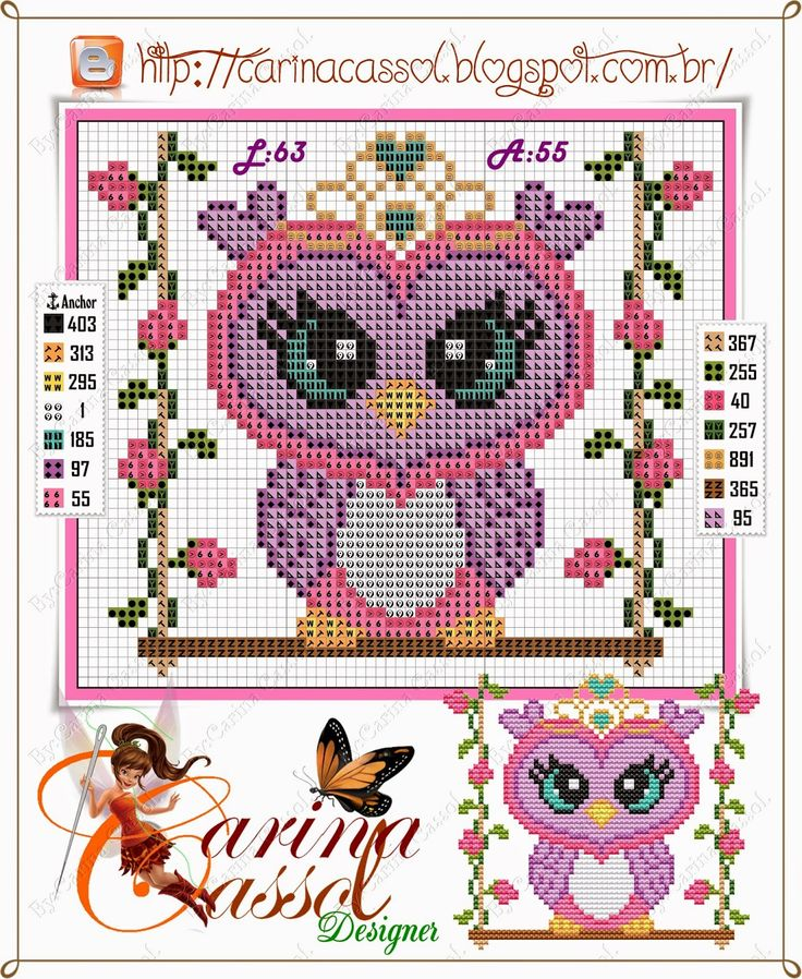 owls-hiboux-cross stitch-point de croix-embroidery