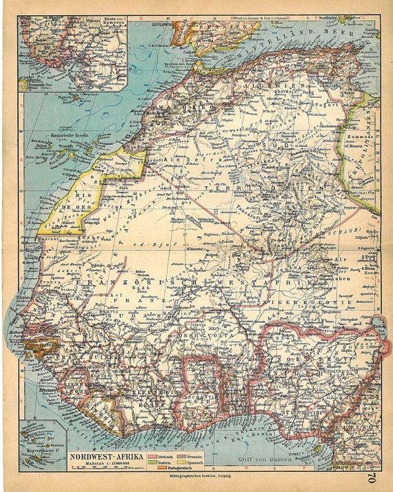 1928 North West Africa Vintage Map