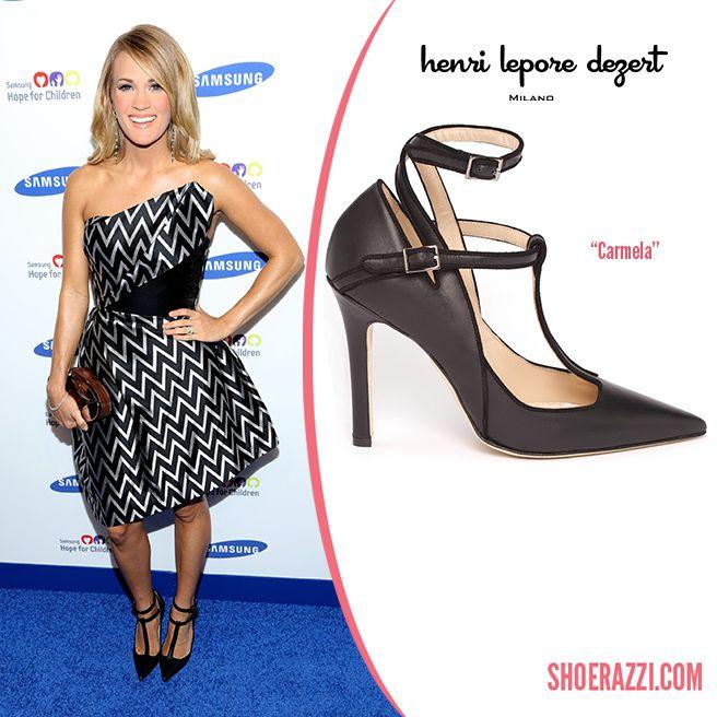 Carrie Underwood in Henri Lepore Dezert Carmela T-Strap Leather Pumps - ShoeRazzi