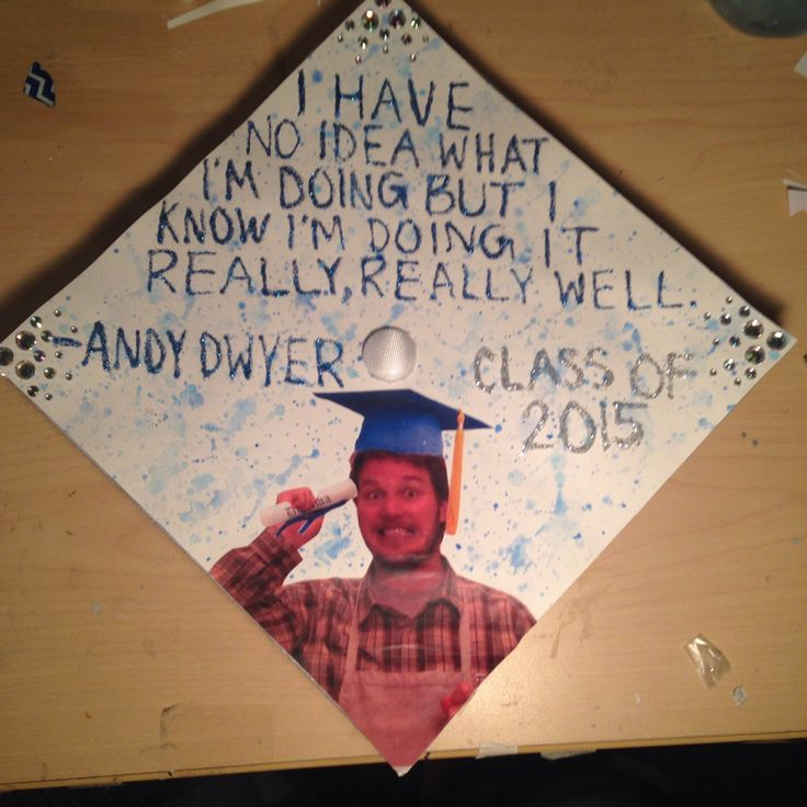 """dwyersludgate: """"I finally finished my graduation cap! And of course I had to do something with my favorite parks and rec character """""""