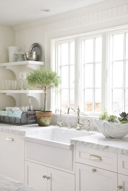 white farmers sink shelves with brackets white kitchen marble