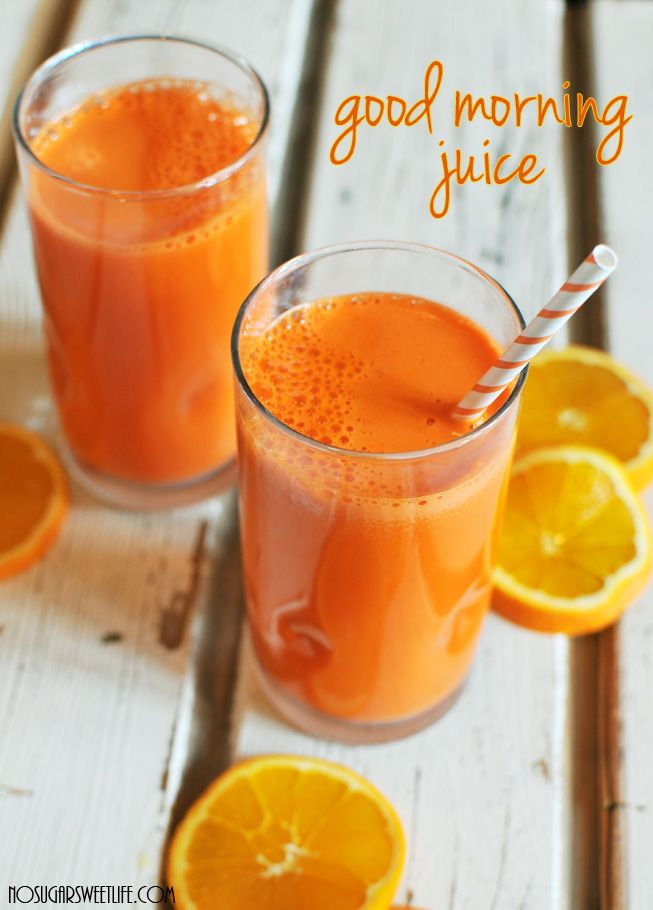 """Good Morning Juice from Nosh and Nourish  Peel 2 Sweet Potatoes & cut in half. Cut 6 carrots into ~4"""" pieces. Peel 4 oranges. Juice everything. Serve over ice!"""