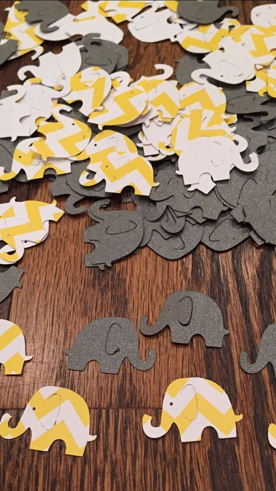 Yellow and grey baby shower elephant decoration by ArtisticallySo