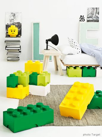 LEGO STORAGE BLOCKS   PRICES VARY:   Design-wise, these Lego storage boxes take the cake. What kid wouldn't want these in his/her room? Made and sold in the UK, it's been difficult to purchase them online but right now they're available on eBay – get 'em quick!