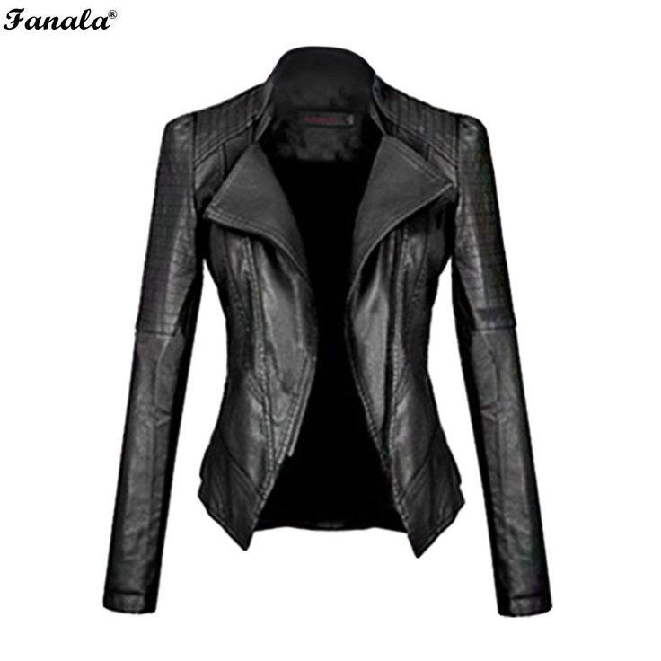 FANALA 2017 Faux Leather Jacket Women Motorcycle Autumn Winter Outerwear Coats Short Zipper Long Sleeve Slim Fitted Jackets#30