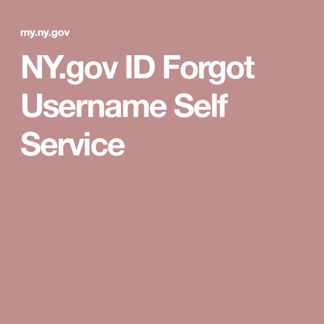 NY.gov ID Forgot Username Self Service