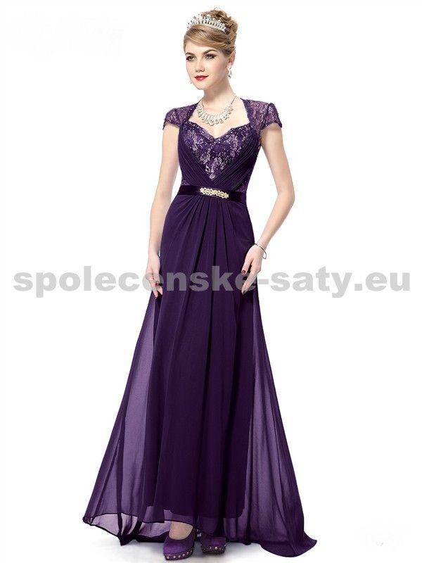Fialové dlouhé společenské šaty s rukávkem a vlečkou luxusní pro svatební matky 34 XS