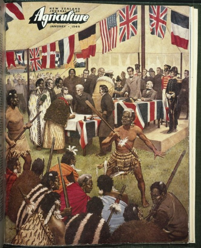 Mitchell, Leonard Cornwall, 1901-1971 :[A reconstruction of the signing of the Treaty of Waitangi, 1840]. 1949.