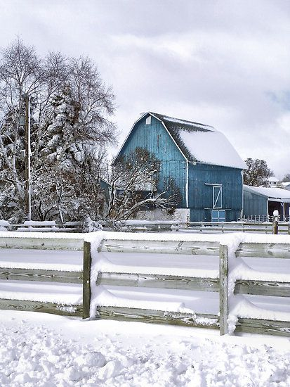 LOVE the blue barn and the white snow. It's beautiful when you can look at it through the window...