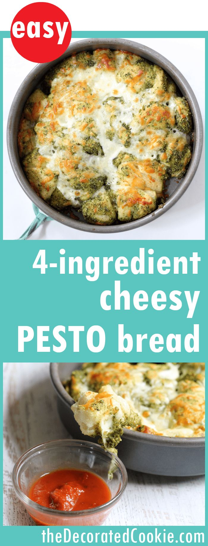 4-ingredient EASY pesto mozzarella pull-apart bread -- quick and easy appetizer or dinner side dish