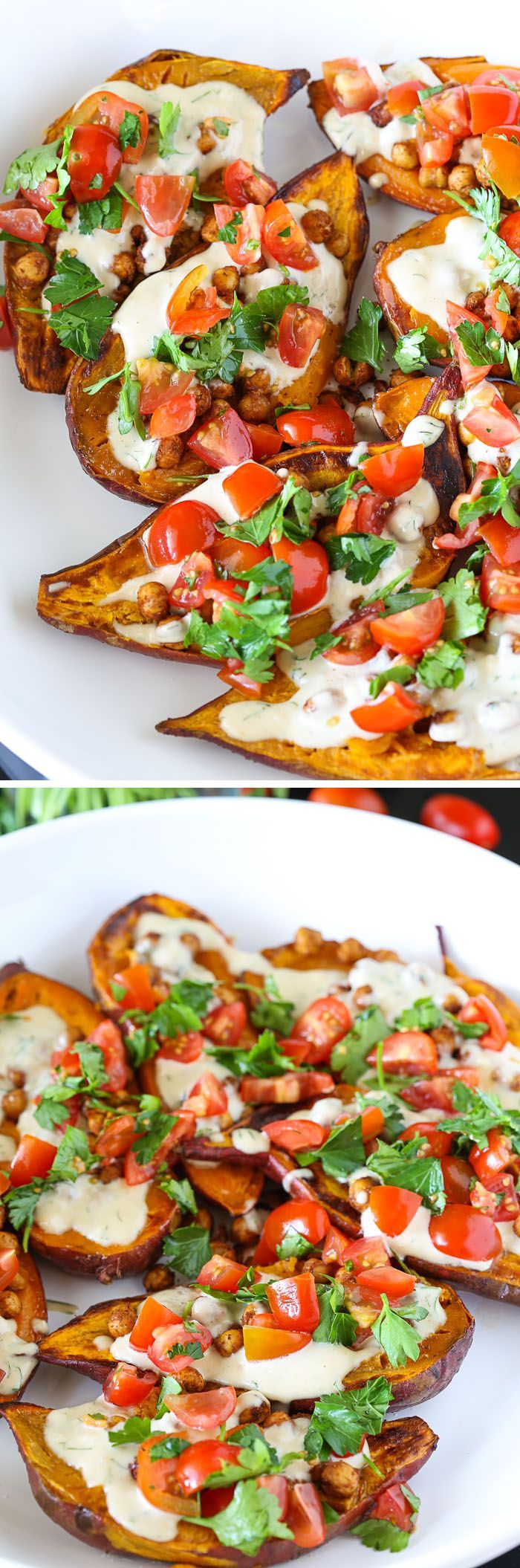 Mediterranean Baked Sweet Potatoes: a fresh, zippy, sweet-and-tangy recipe for…