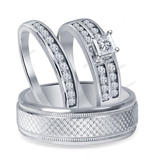 Princess Cut Diamond White Gold Over  His & Her Wedding Engagement Trio Ring Set #giftjewelry22