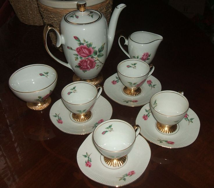 Lovely Pink Rose & Gold Bone China Coffee Service Set Chodziez Poland Vintage #Vintage #Coffee #Cups #ebay