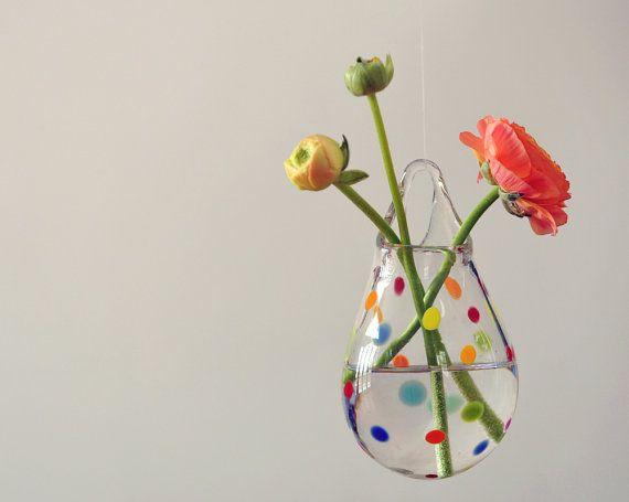 Air Plant Holder / Glass Wall Vase / Wall Decor / Polka Dot Glass Art / Home Decor by AvolieGlass, $50.00