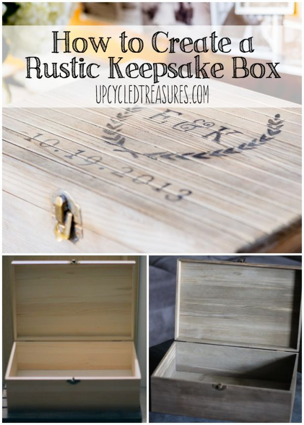How to Create a Rustic Keepsake Box - Make a keepsake box out of a new wooden storage box. We used it for our time capsule wedding guestbook. Guests wrote on the back of vintage postcards and then tossed them inside the box, which we will open on our 1 year anniversary. UpcycledTreasures.com