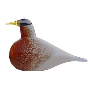 """iittala Toikka American Robin - FinnFest 2014 Bird. Glass mastermind Oiva Toikka captures the warming allure of the American Robin in celebration of FinnFest 2014. Like its muse, his artistic interpretation is marked by a brilliant red-orange breast, which fades with a spongy texture into soft bluish-grey wings. American Robin's dark head holds a watchful gaze, pointing its lucid yellow beak straight ahead. With only 300 produced, each mouth-blown piece will be hand-etched with """"FinnFest…"""