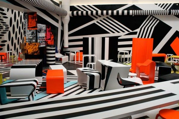 Cafeteria designed by Tobias Rehberger in collaboration with Finnish furniture Artek