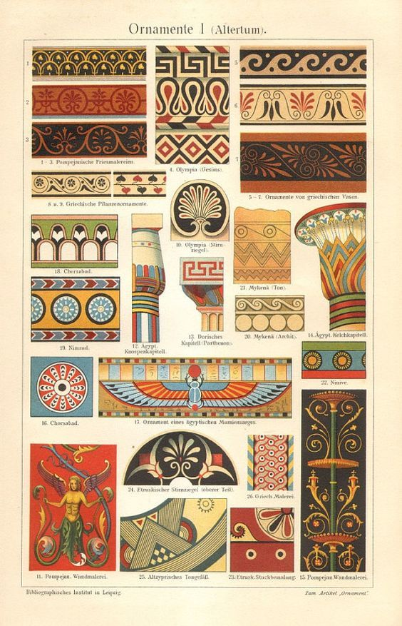 1909 Ancient Ornaments Egyptian, Troian, Roman, Mycenaean Original Antique Chromolithograph to Frame: