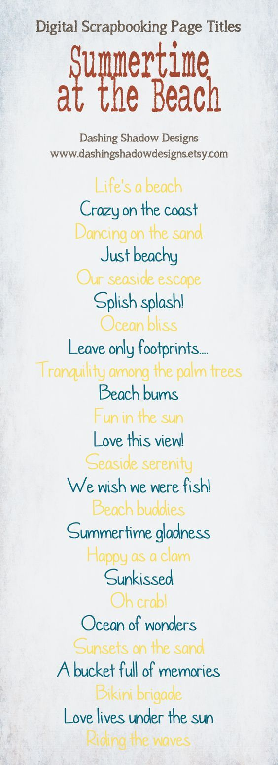 Summer vacation scrapbook ideas - Scrapbook Page Title Ideas Summertime At The Beach