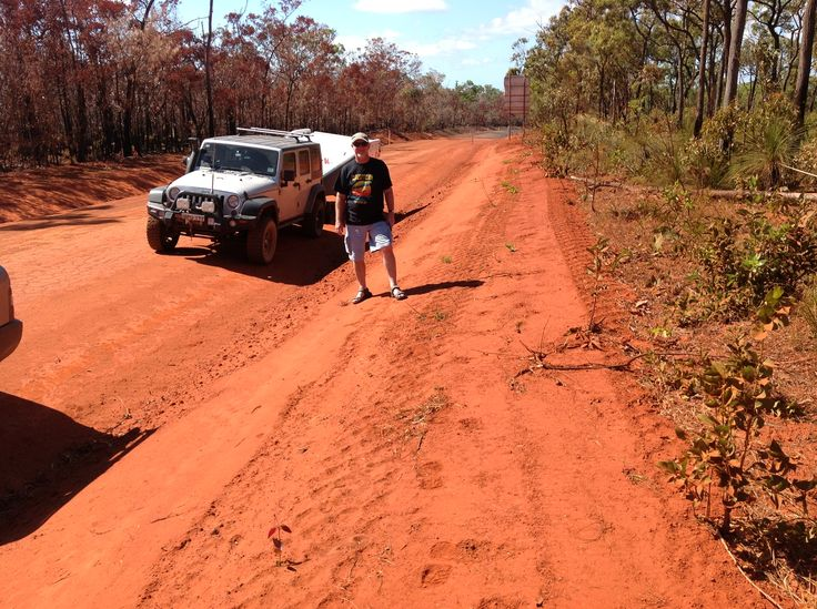 The famous red dust of the Australia outback - on the road to Old Laura Homestead