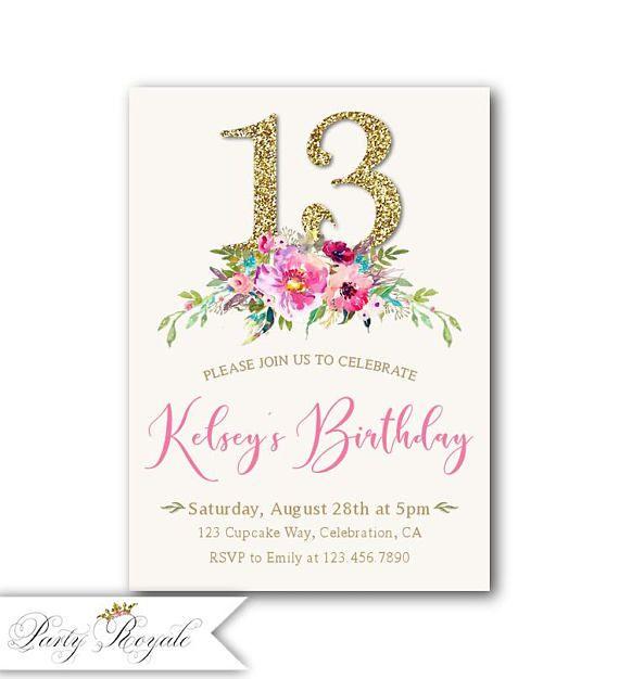 13th Birthday Invitation Girl Boho Birthday Invitations For Etsy 30th Birthday Invitations 30th Birthday Party Invitations 50th Birthday Invitations