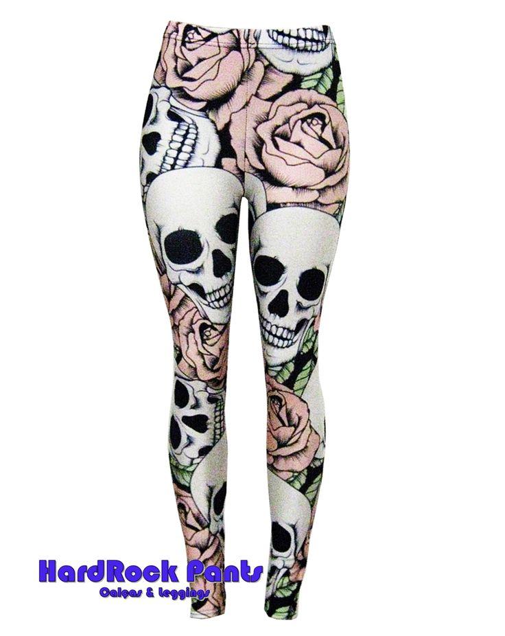 Calça Legging em Lycra Metalizada Caveira e Flores Rosa #calça #legging #estampada  #metalizada #lycra #fitness #academia #caveira #skull #flores #cranio #rosa #visual   #hardrockpants