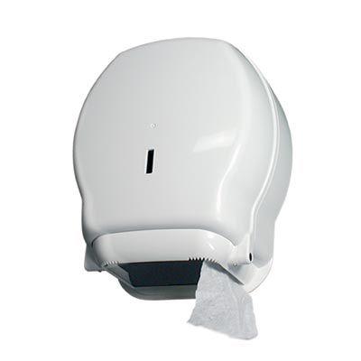 Dozownik do papieru toaletowego typu jumbo, czyli do rolki max o średnicy 19,5 centymetra, wykonany został z plastikowego tworzywa w kolorze białym. Pojemnik zamykany jest na kluczyk, co chroni zawartość przed przypadkowym otwarciem. System działania dozownika jest bardzo prosty i pozwala na łatwą i szybką wymianę rolki papieru.