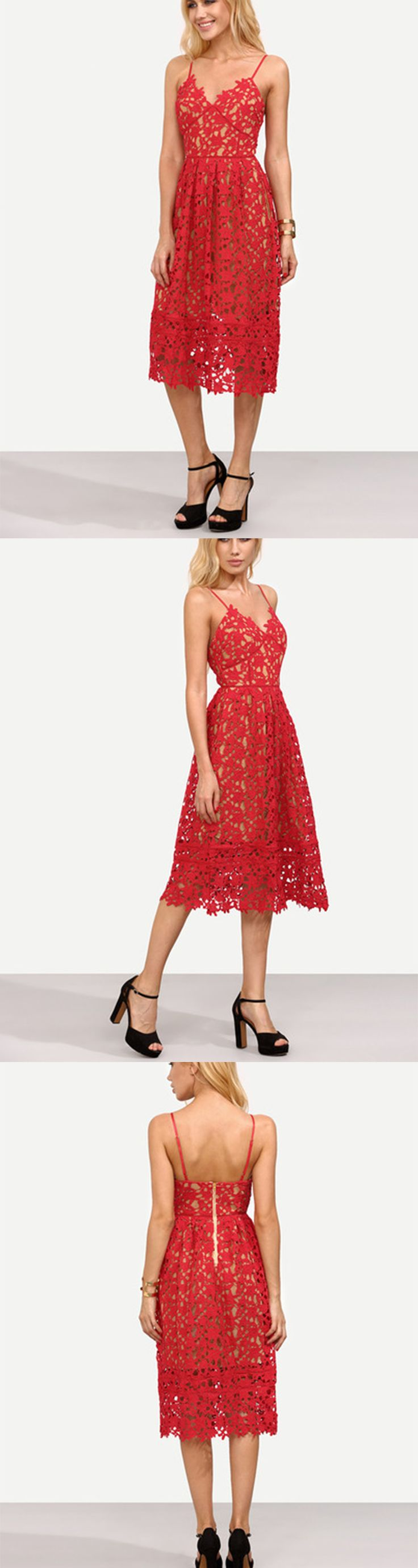 手机壳定制discount on shoes in mumbai Red Hollow Out Fit amp Flare Lace Cami Dress