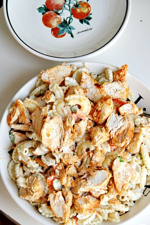 Buffalo Chicken Pasta Salad...this sounds amazing and I will try it