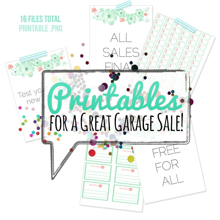 """HUGE collection of #free #printables for your next #garage sale.  Includes pricing signs and pre-made free, all sales final, etc signage.  Prints on standard 8.5x11"""" computer paper in color or greyscale."""