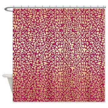 Pink and Gold Glam Leopard Pattern Shower Curtain | A girly animal pattern with a glam pink and glitzy gold leopard design. Flat printed image, not actual gold gradient. $43.99