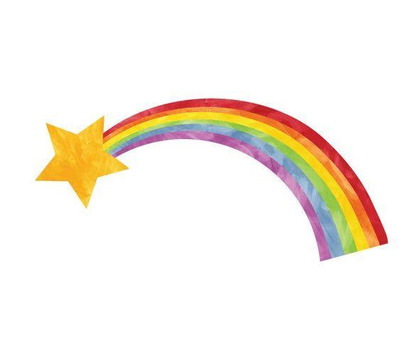 Shooting Star and Rainbow Wall Decal - Rainbow Fabric Wall Decals   Rainbow  wall decal, Fabric wall decals, Rainbow wall