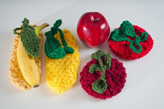 Fruit Cozies 4 Pack  2 Apples and 2 Bananas  by HandmadeHealth, $25.00