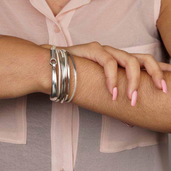 Pearl Off White Leather Triple Wrap Bracelet Hook Bracelet