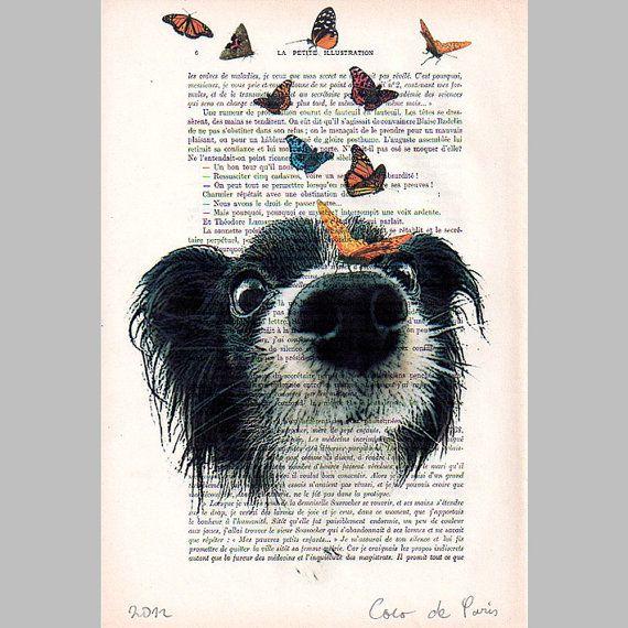 Perrito con mariposas ilustración-regalo por Cocodeparis en Etsy