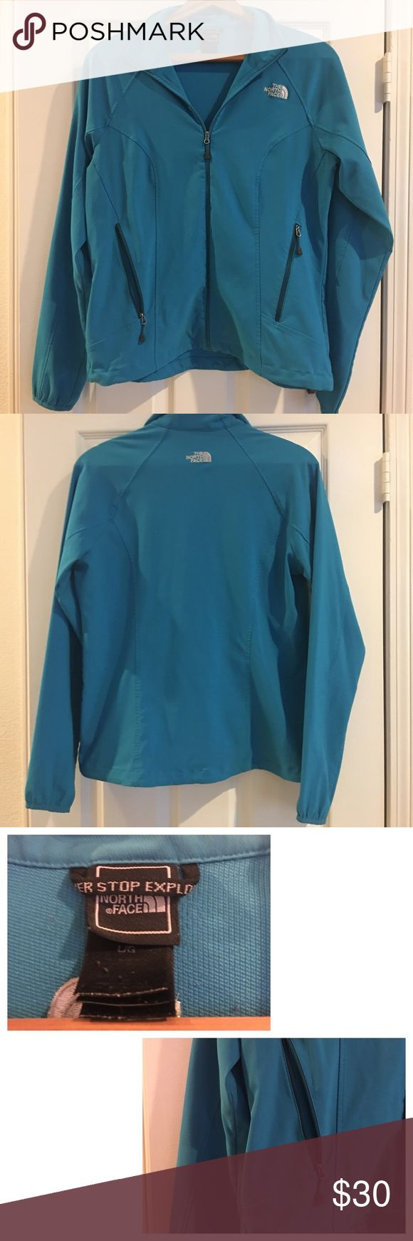 North Face athletic zip up Blue zip up. Used condition, but no stains or rips. Right pocket zipper is broken. I've never tried to fix it. 💕Bundle and Save %15💕 The North Face Jackets & Coats