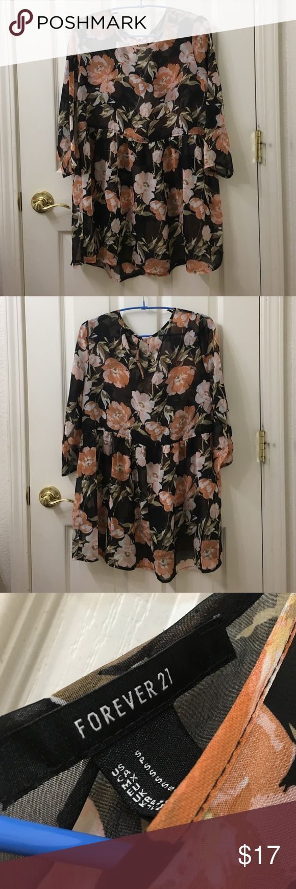 Floral Sundress see through sundress with peach colored floral design. worn twice. Forever 21 Dresses Mini