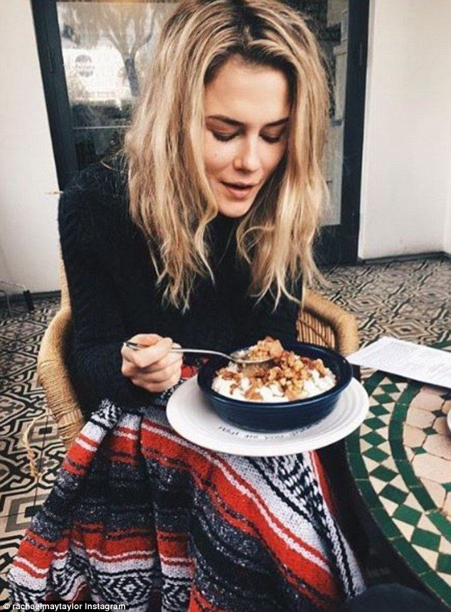 Getting cozy! Actress Rachael Taylor rugs up in warm jumper and Mexican blanket for breakfast 'date' with Australian actor and model Luke Baines