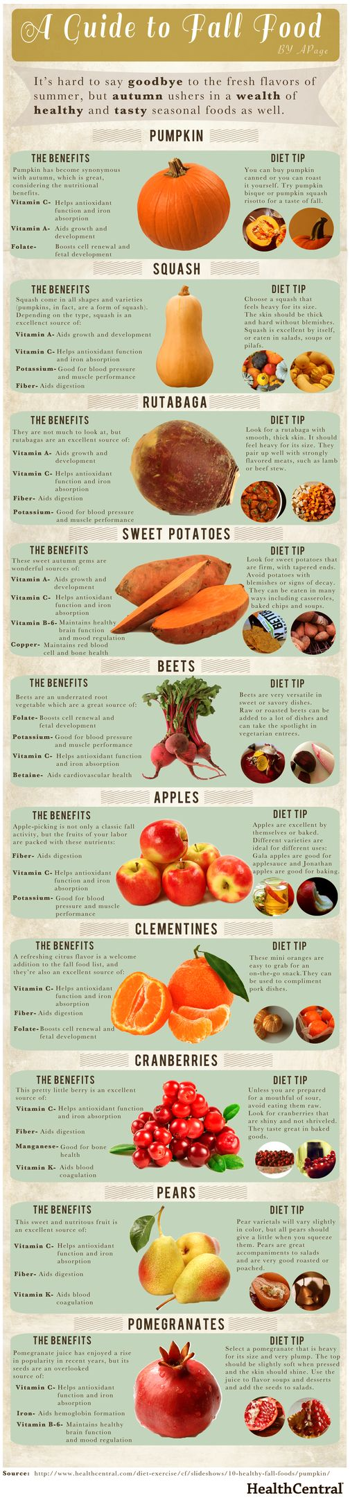 Learn about the health benefits of the most popular fall foods in a tasty infographic from HealthCentral.